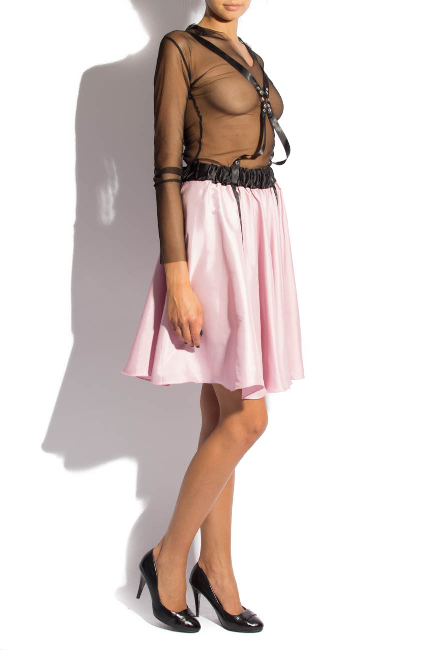 Pink midi skirt with suspenders Laura Firefly image 1