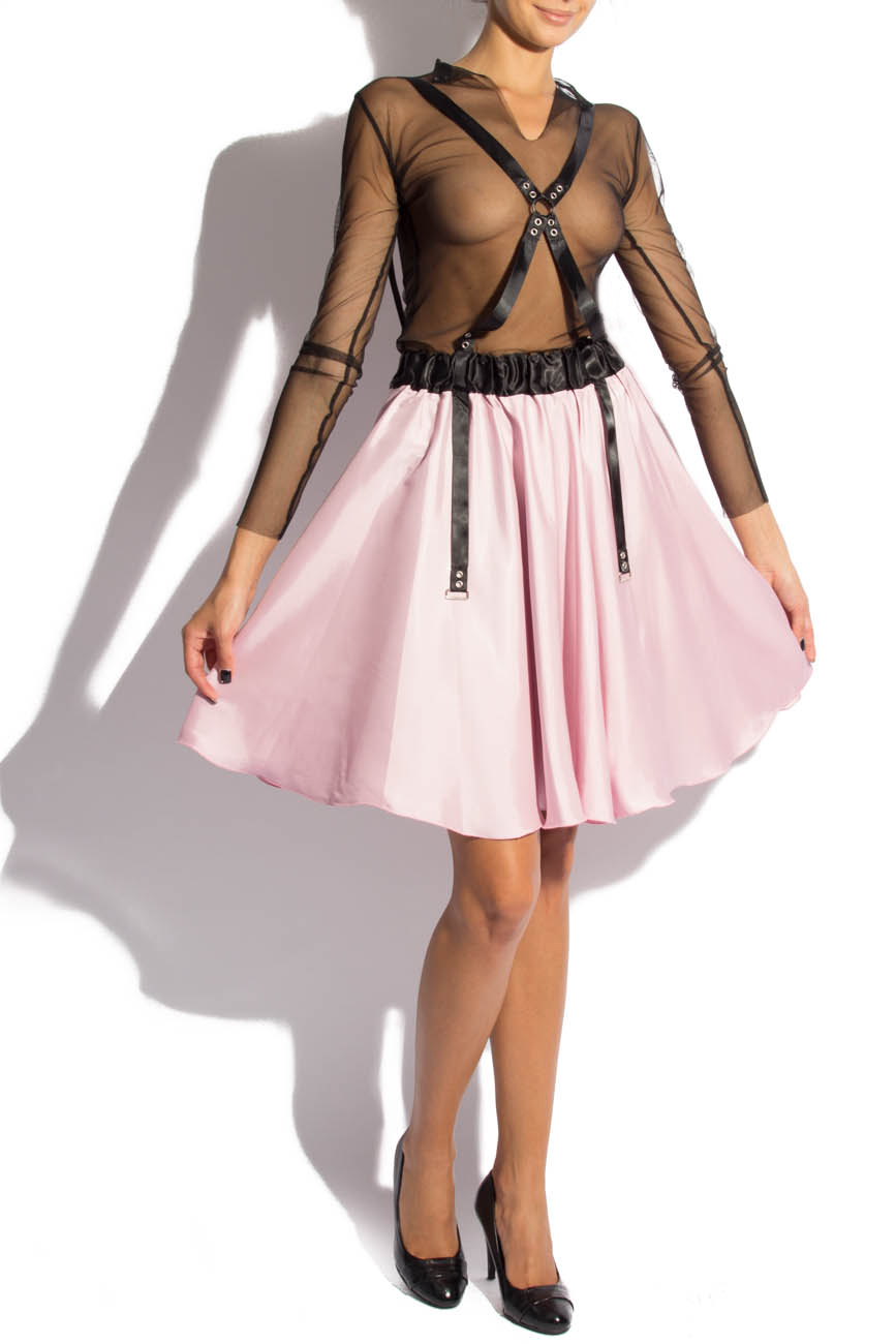 Pink midi skirt with suspenders Laura Firefly image 0