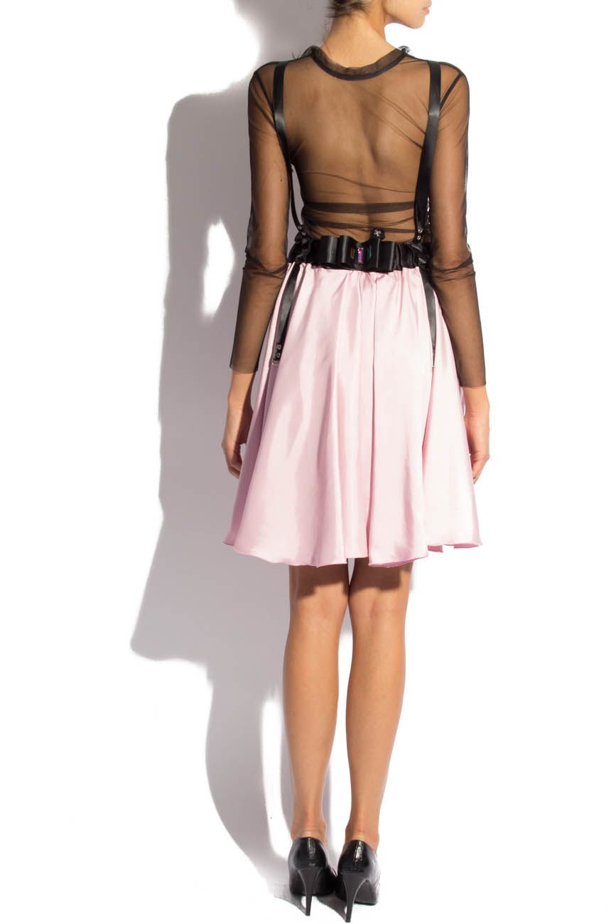 Pink midi skirt with suspenders Laura Firefly image 2