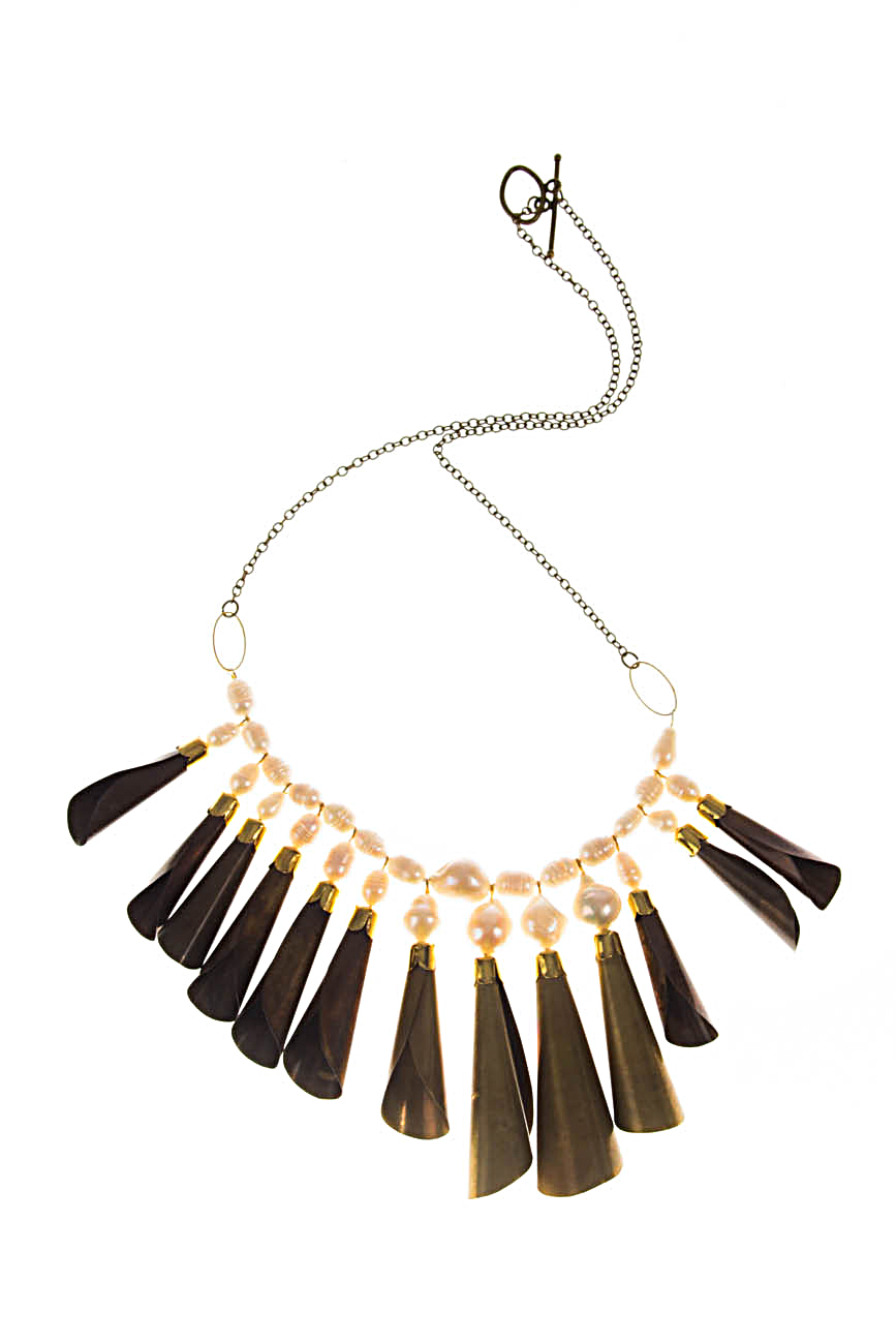 Brass necklace with white pearls Iuliana Asoltanei image 0