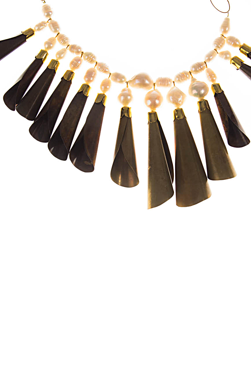Brass necklace with white pearls Iuliana Asoltanei image 1