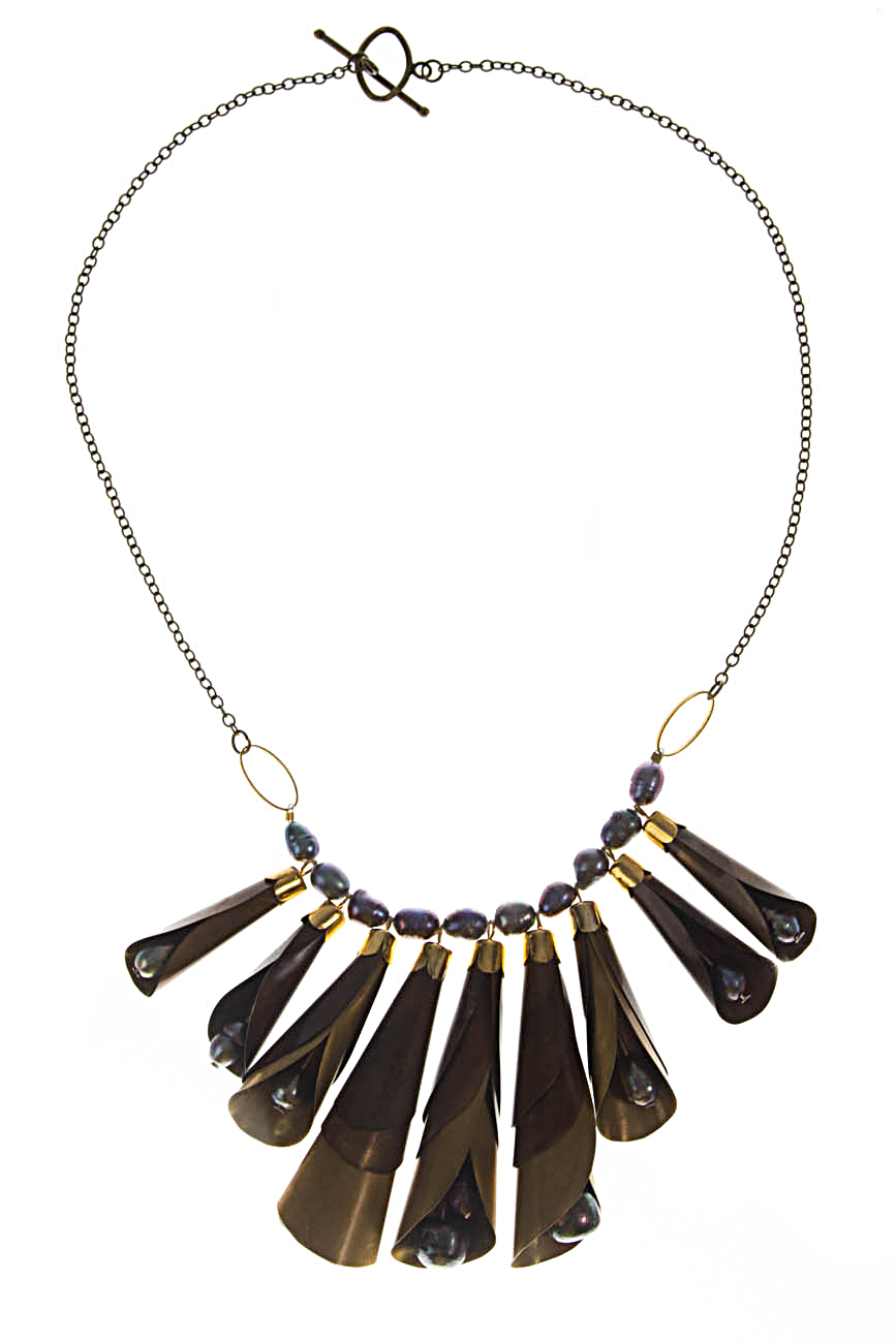 Brass necklace with gray pearls Iuliana Asoltanei image 0