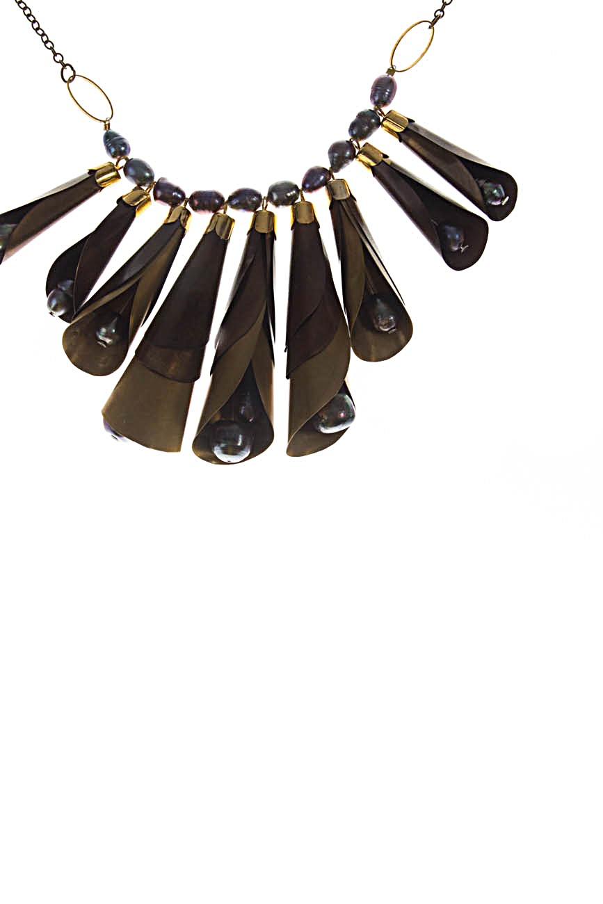 Brass necklace with gray pearls Iuliana Asoltanei image 1