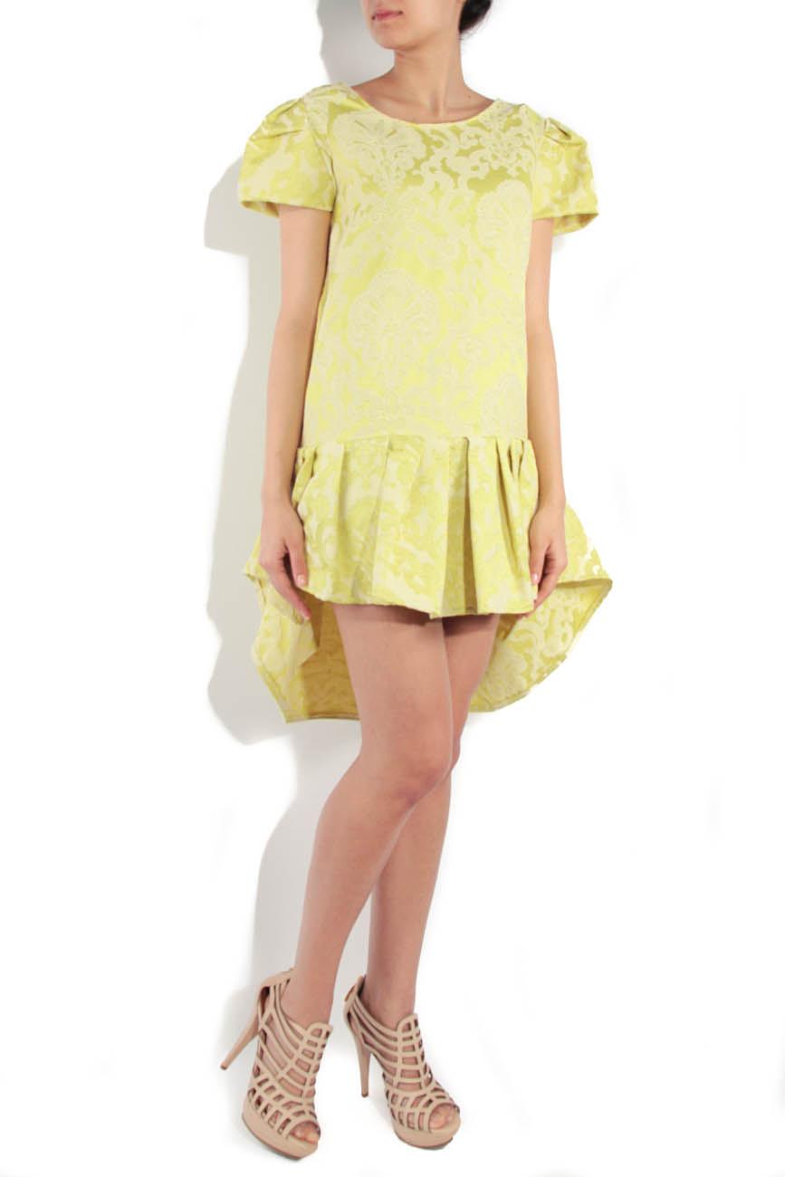 Lime brocade dress Simona Semen image 1