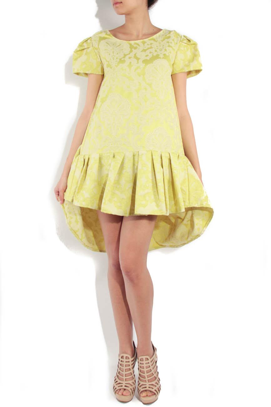 Lime brocade dress Simona Semen image 0