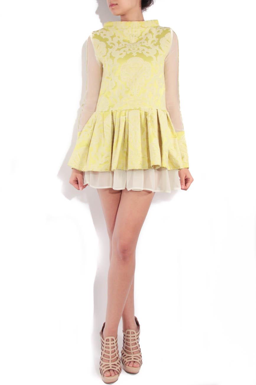Lime brocade dress with sleeves Simona Semen image 0