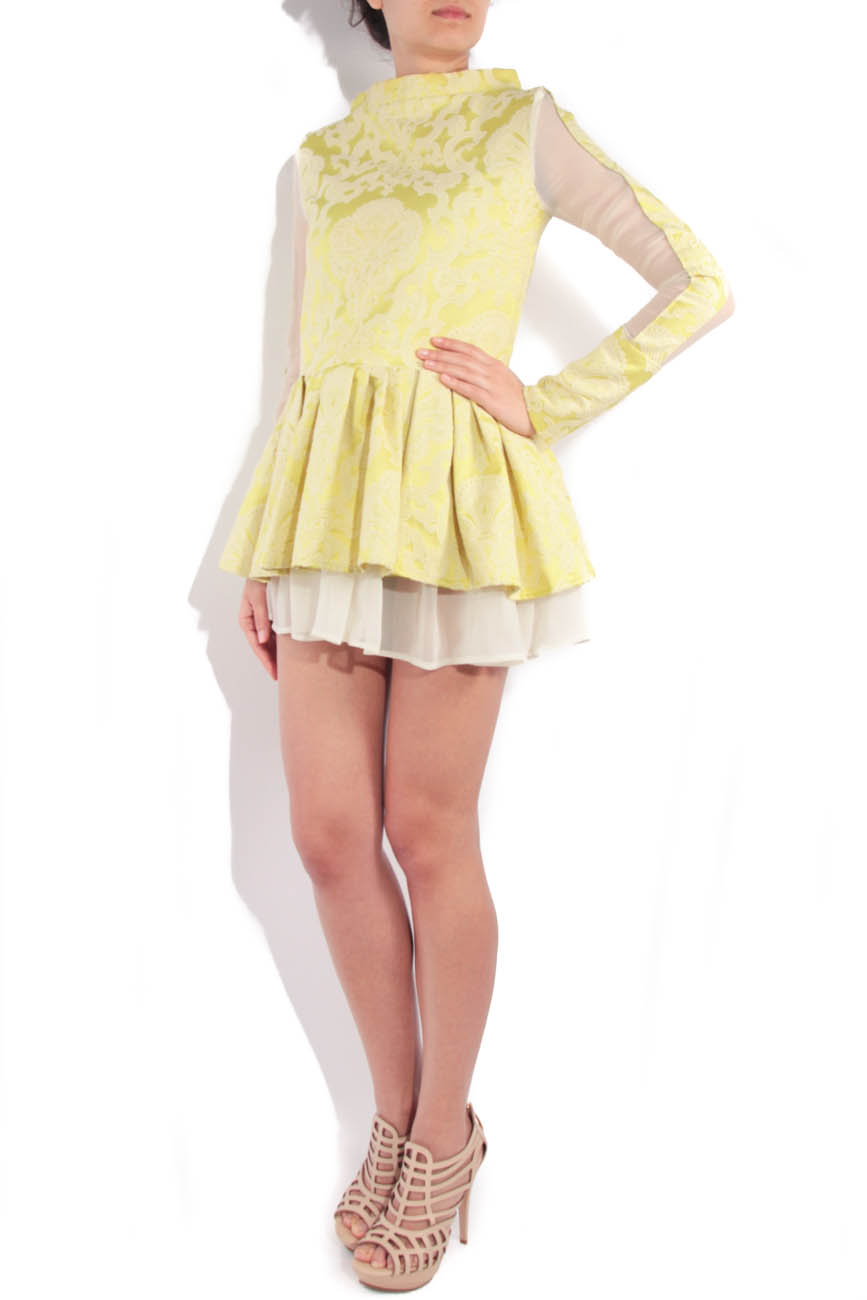 Lime brocade dress with sleeves Simona Semen image 1