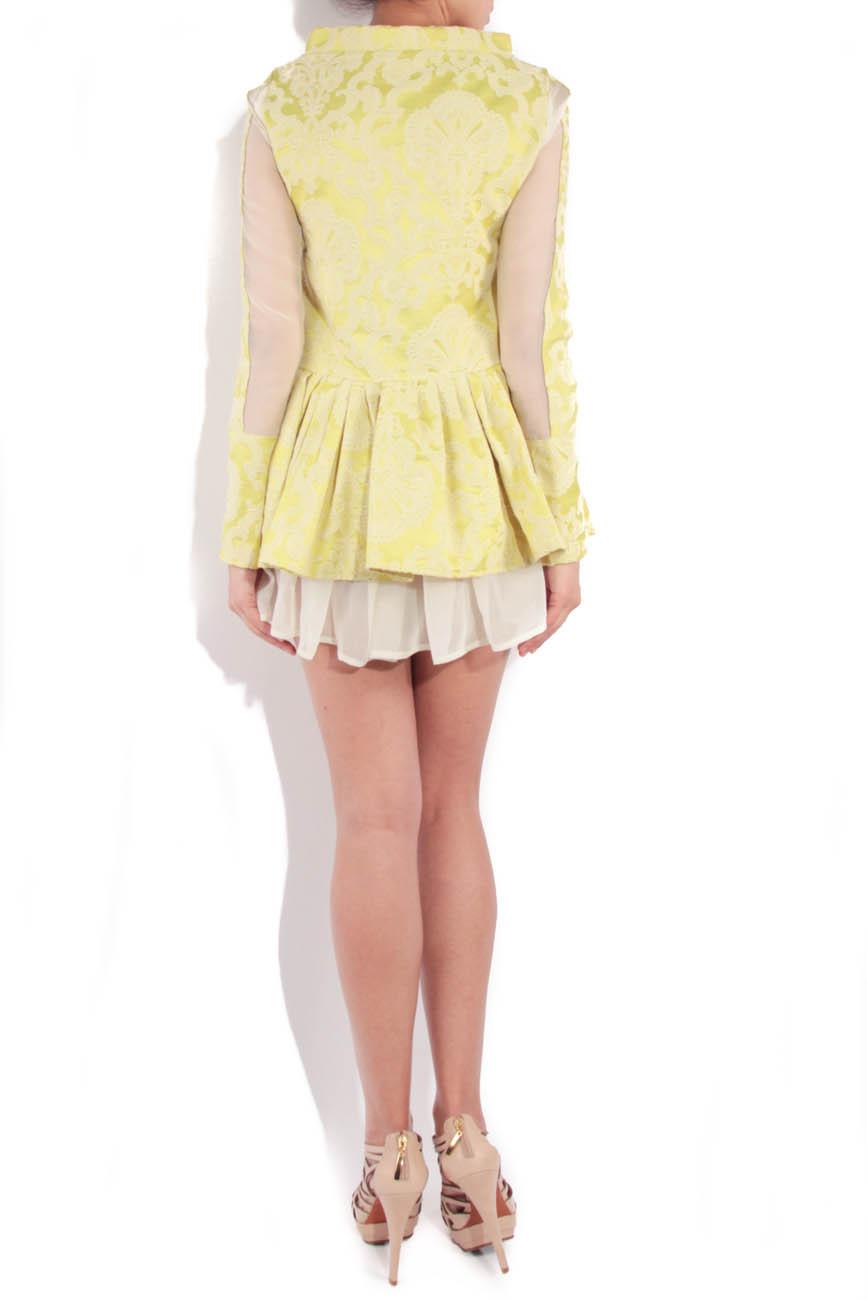 Lime brocade dress with sleeves Simona Semen image 2
