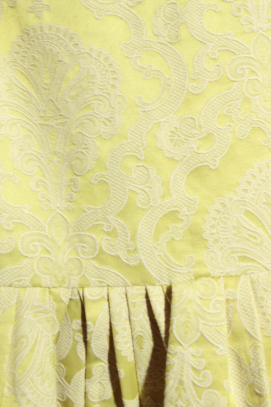 Lime brocade dress with sleeves Simona Semen image 3