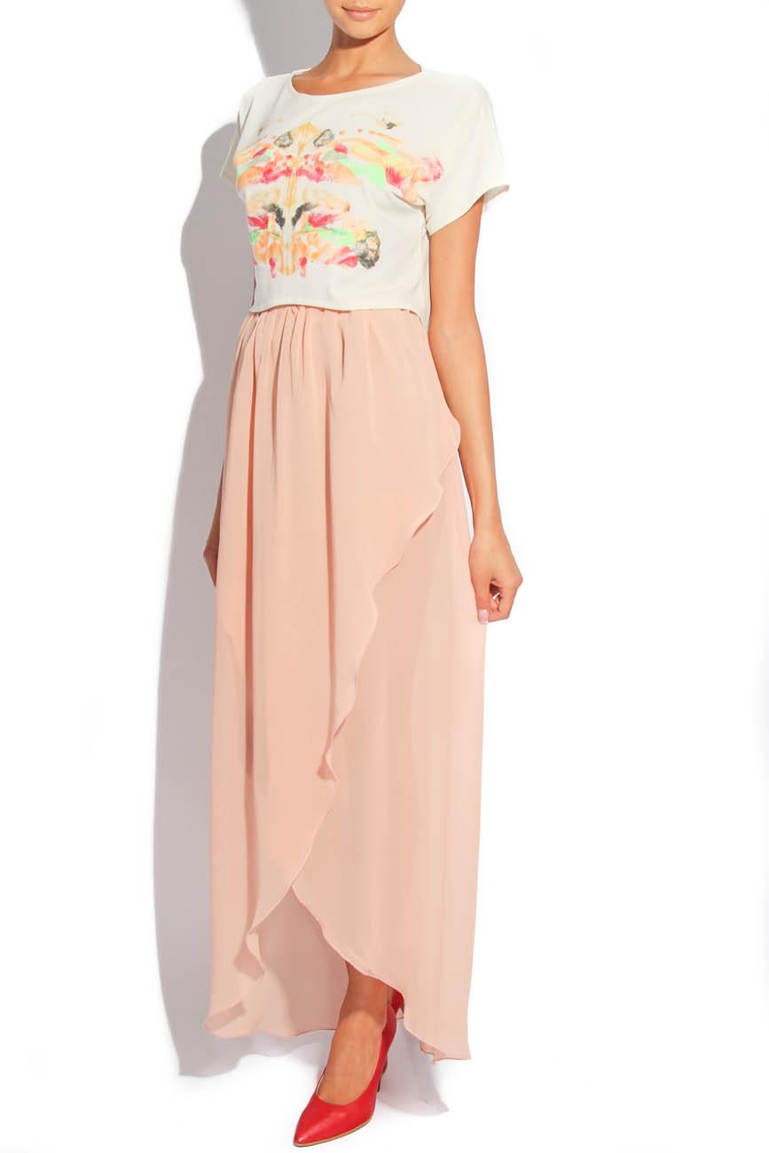 Asymmetrical PEACH Skirt  Laura Firefly image 1
