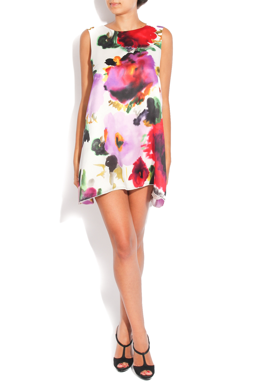 Dress with printed flowers on white background Diana Bobar image 0