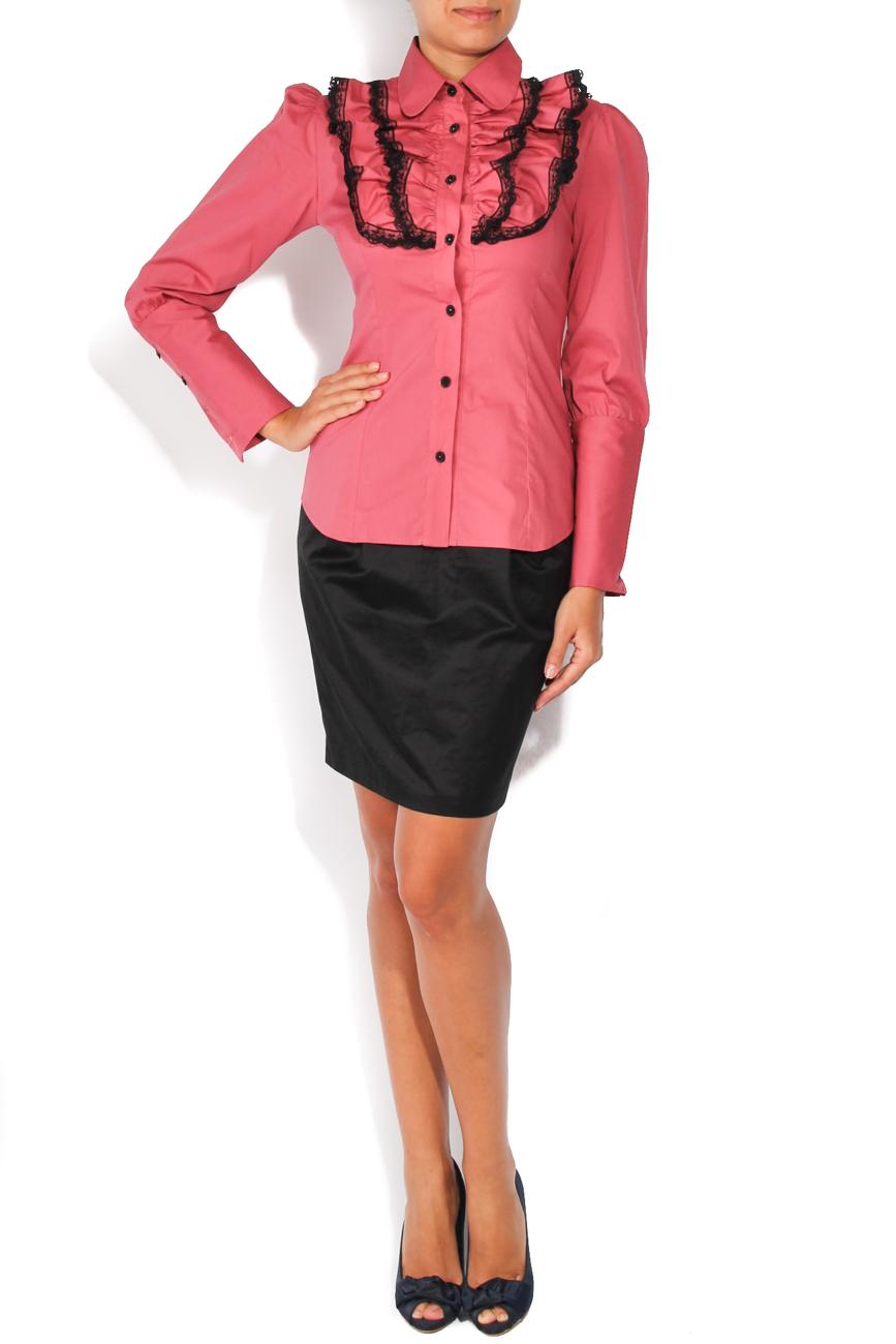 Dark pink shirt with lace T'esha by Diana Tatucu image 0