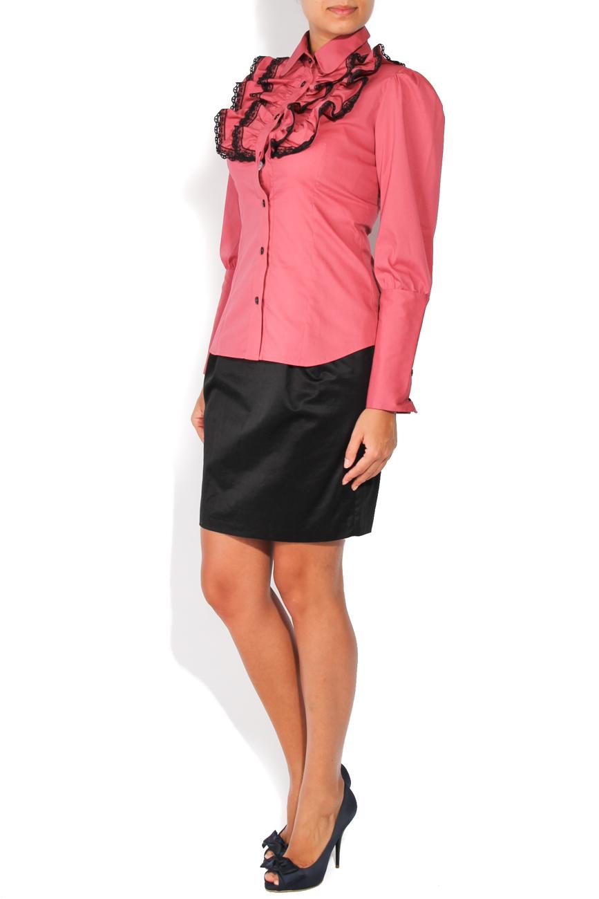 Dark pink shirt with lace T'esha by Diana Tatucu image 1