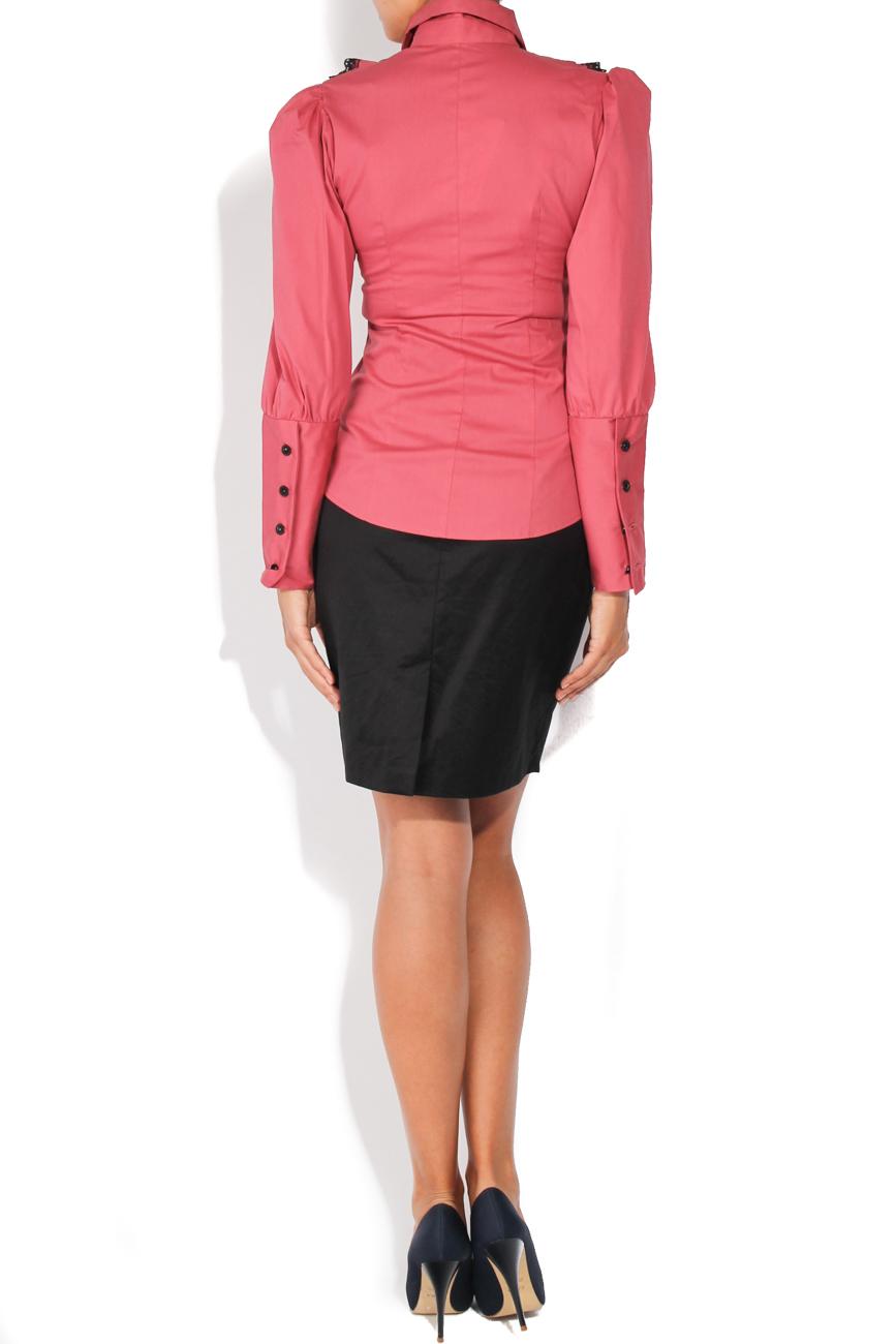 Dark pink shirt with lace T'esha by Diana Tatucu image 2