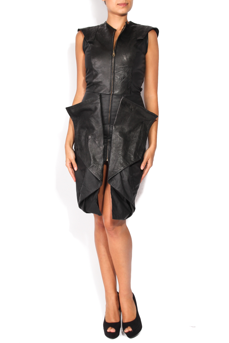 Leather dress with ruffles Anca si Silvia Negulescu image 0