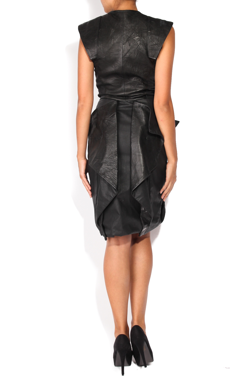 Leather dress with ruffles Anca si Silvia Negulescu image 2