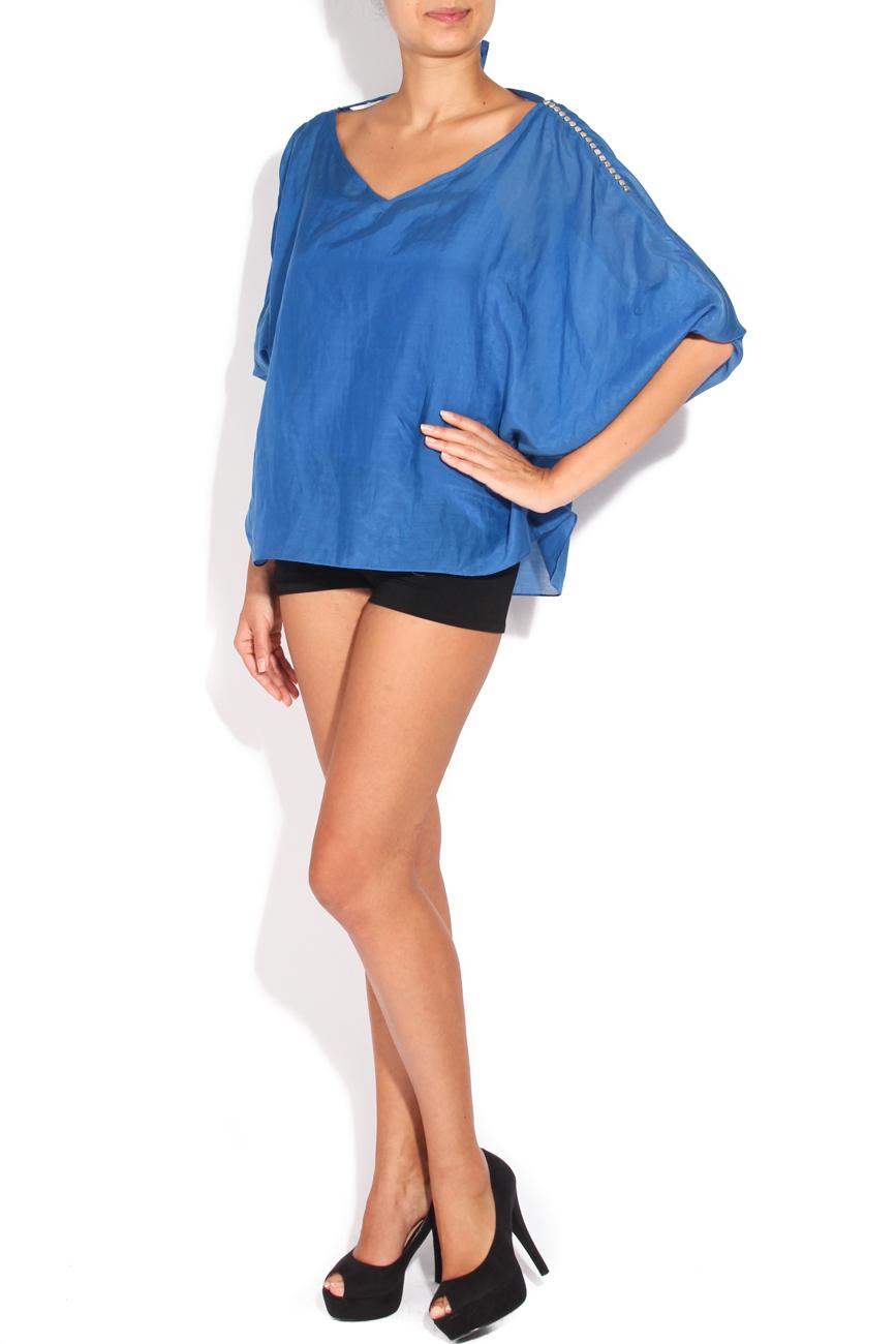 Blue shirt with metallic applications Karmen Herscovici image 0