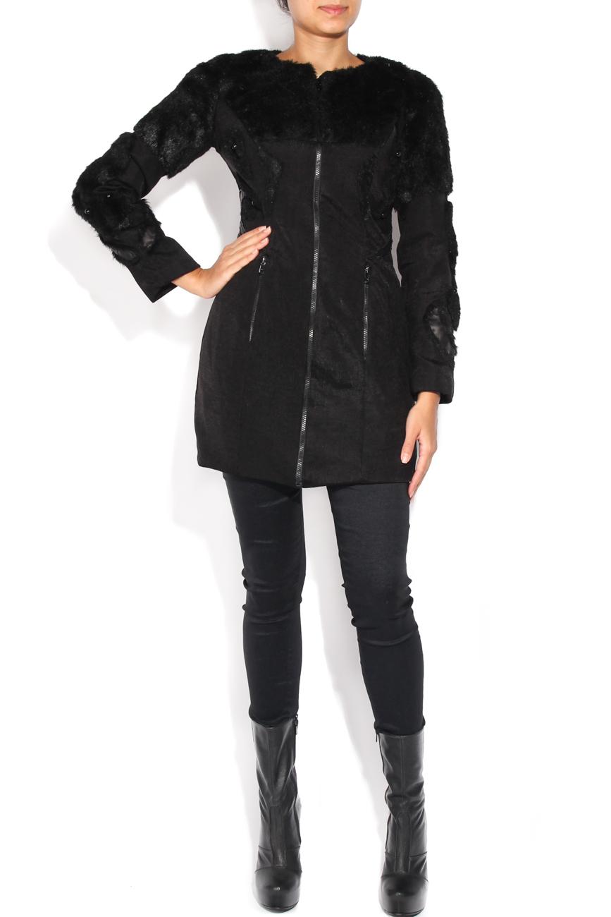 Black coat of fur and beads applications Loredana Novotni image 0
