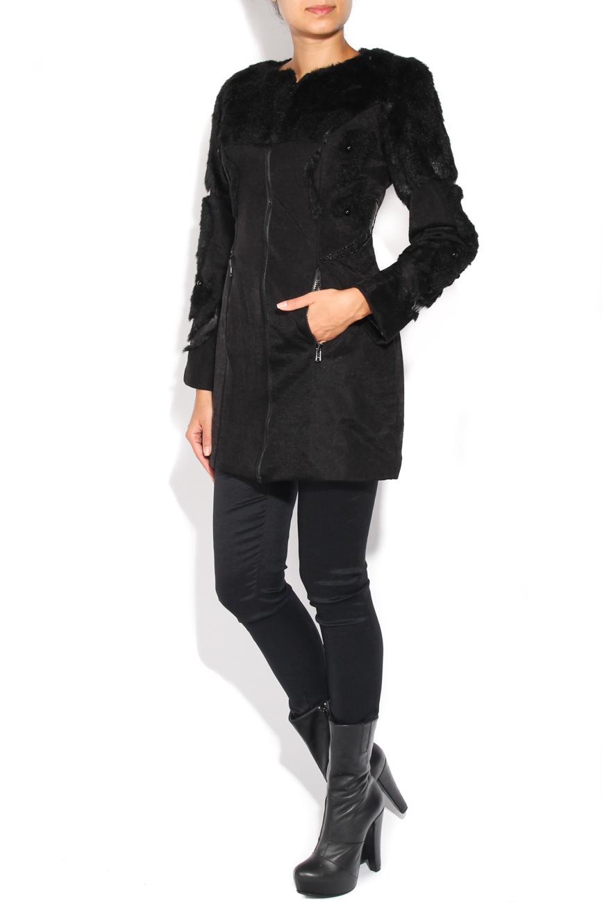 Black coat of fur and beads applications Loredana Novotni image 1
