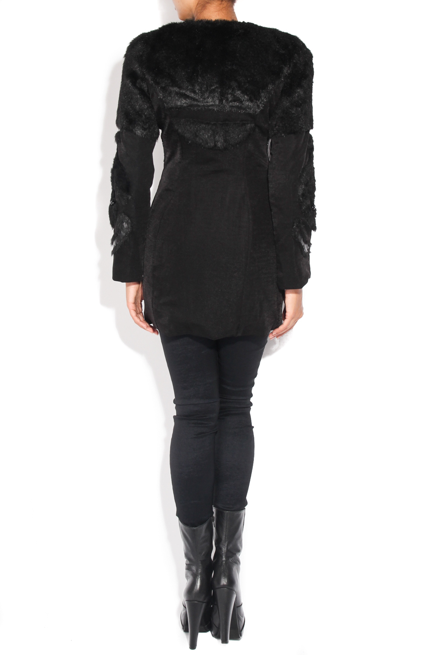 Black coat of fur and beads applications Loredana Novotni image 3