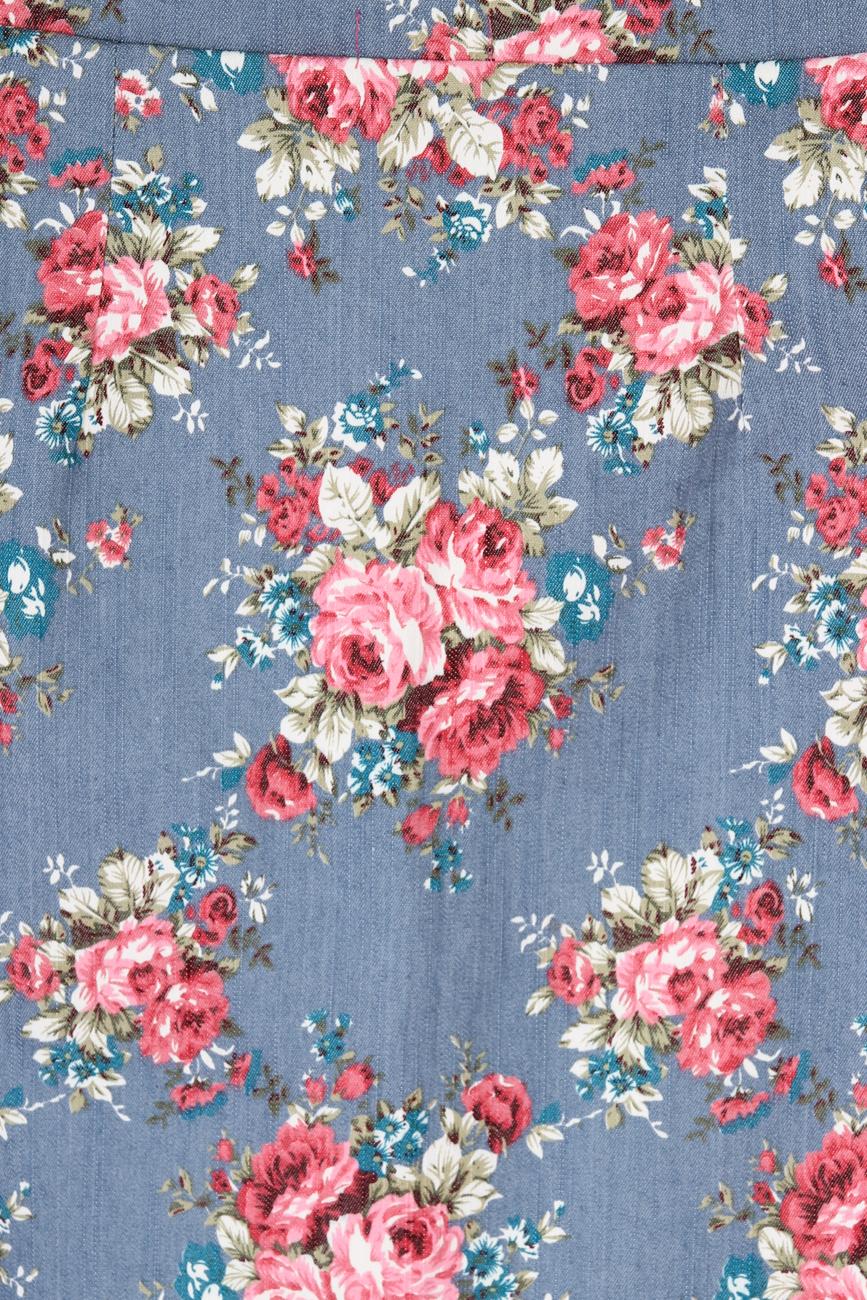 Jeans skirt with blue flowers T'esha by Diana Tatucu image 3