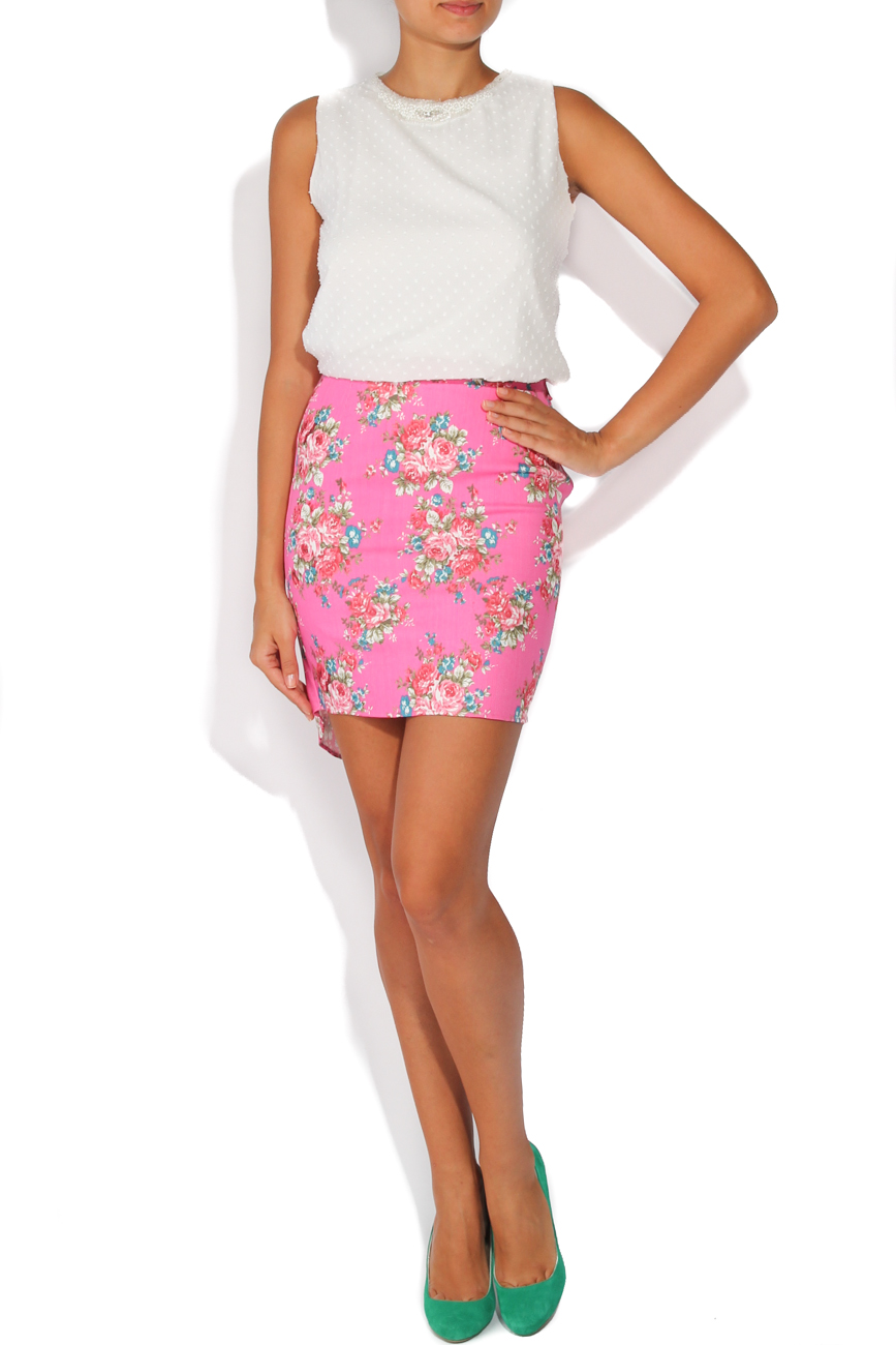 Jeans skirt with pink flowers T'esha by Diana Tatucu image 0
