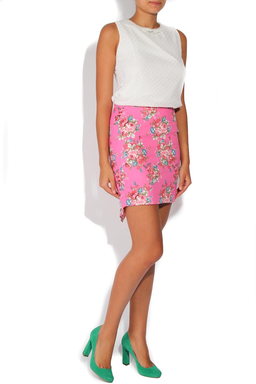 Jeans skirt with pink flowers T'esha by Diana Tatucu image 1