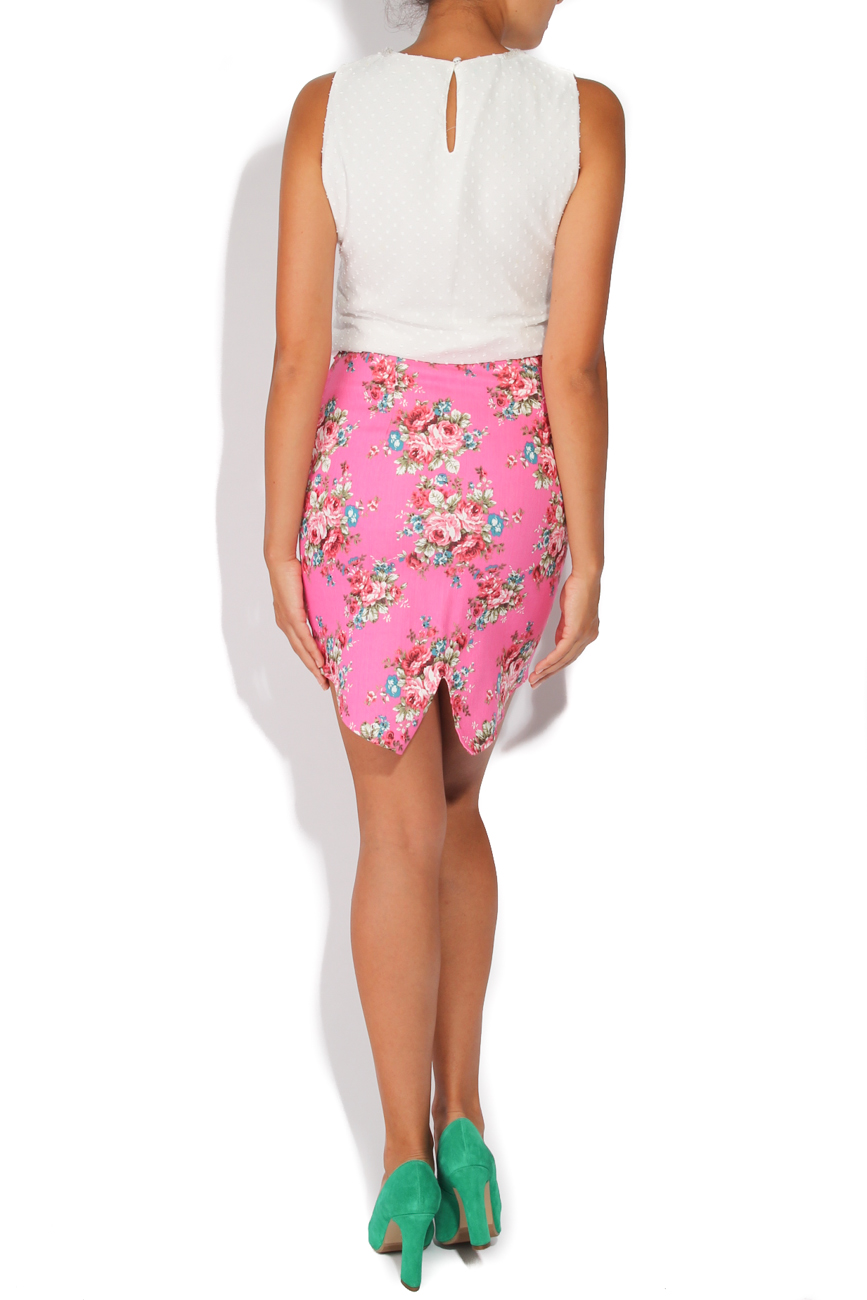 Jeans skirt with pink flowers T'esha by Diana Tatucu image 2