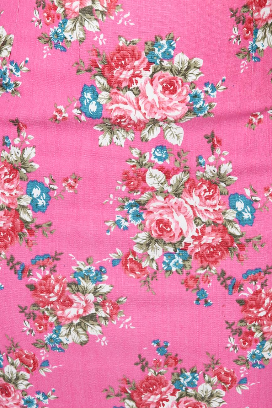 Jeans skirt with pink flowers T'esha by Diana Tatucu image 3