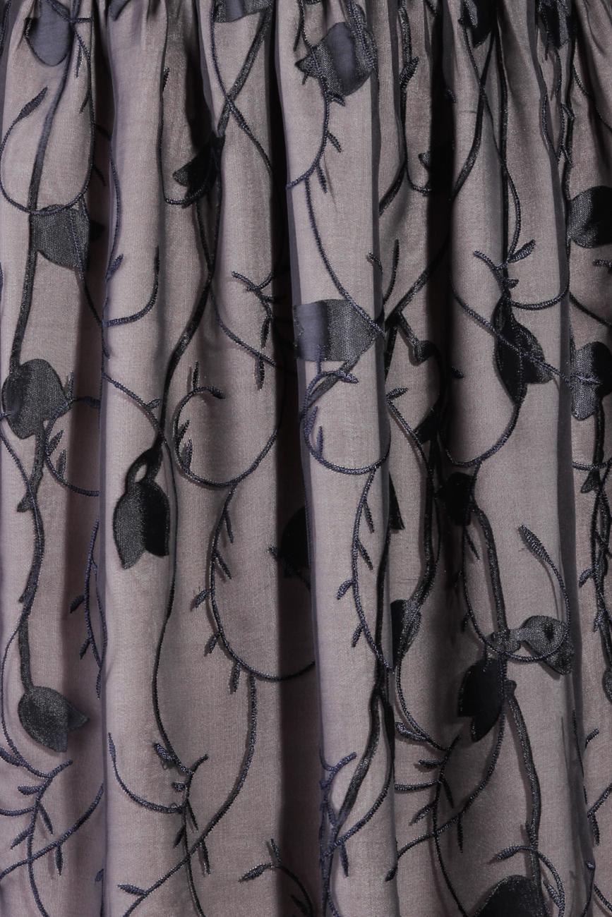Silk black dress with stylized flowers Laura Ciobanu image 3