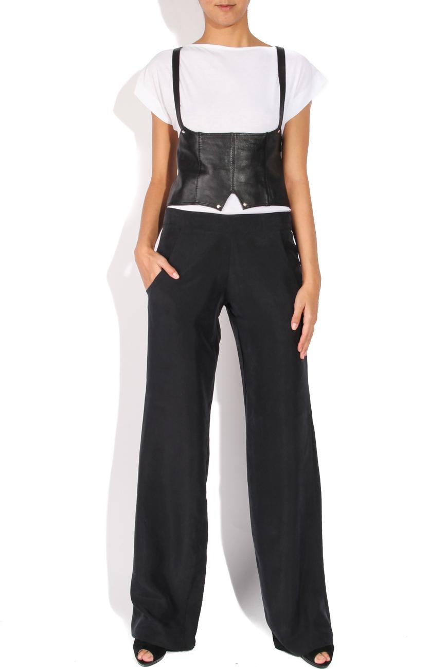 Pantaloni matase gri B.A.D. Style by Adriana Barar imagine 0
