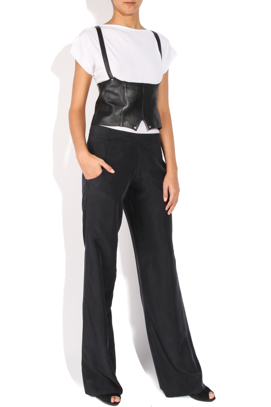 Pantaloni matase gri B.A.D. Style by Adriana Barar imagine 1