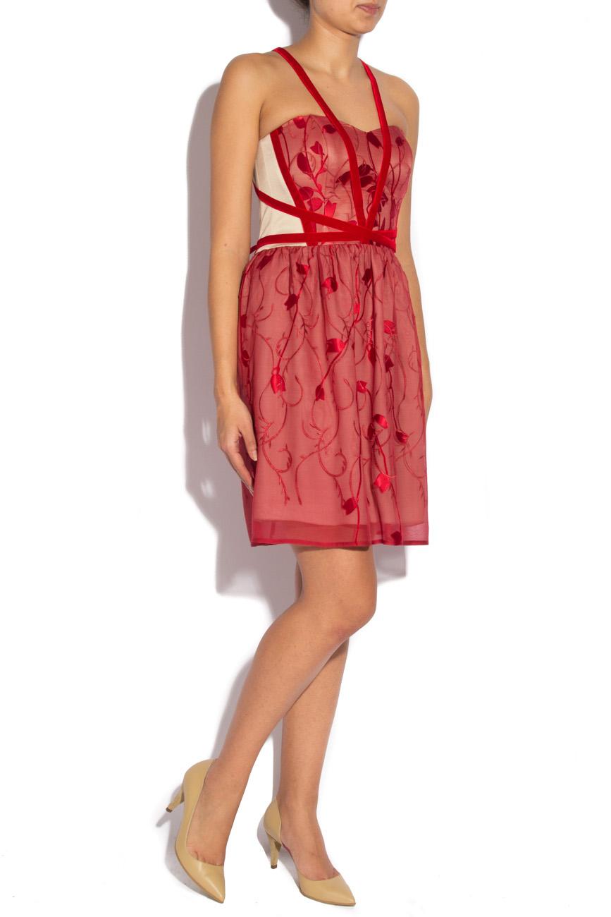 Burgundy dress with harness Laura Ciobanu image 1