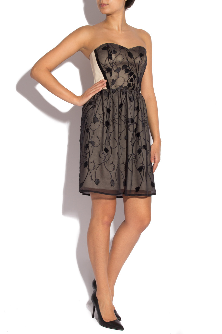 Silk black dress with stylized flowers Laura Ciobanu image 1