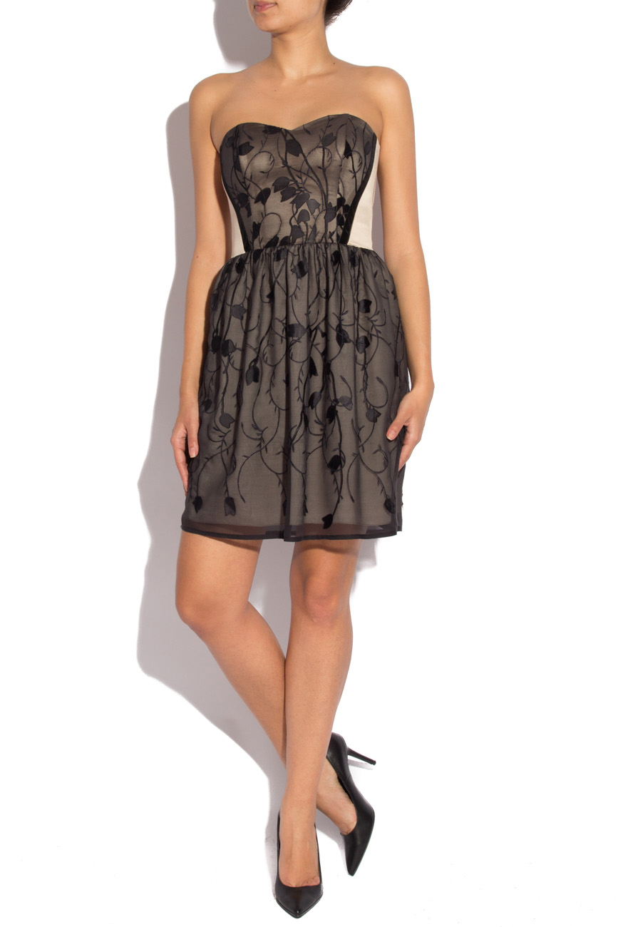 Silk black dress with stylized flowers Laura Ciobanu image 0