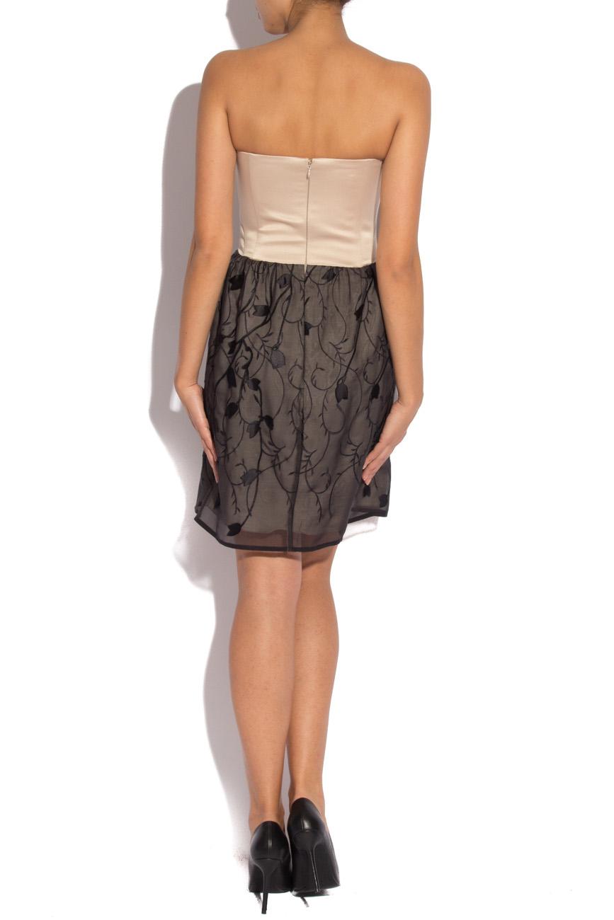 Silk black dress with stylized flowers Laura Ciobanu image 2