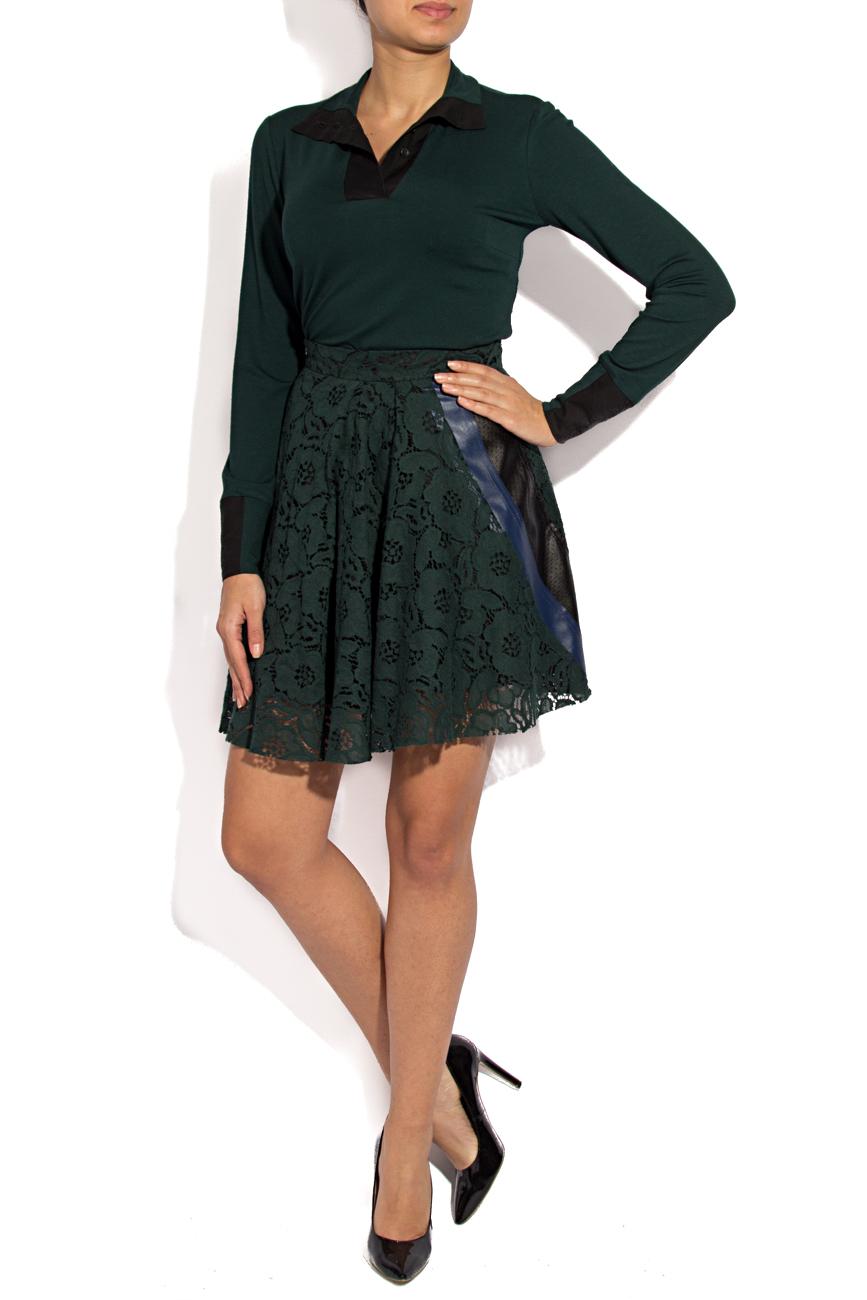 Green lace mini skirt Lena Criveanu image 0