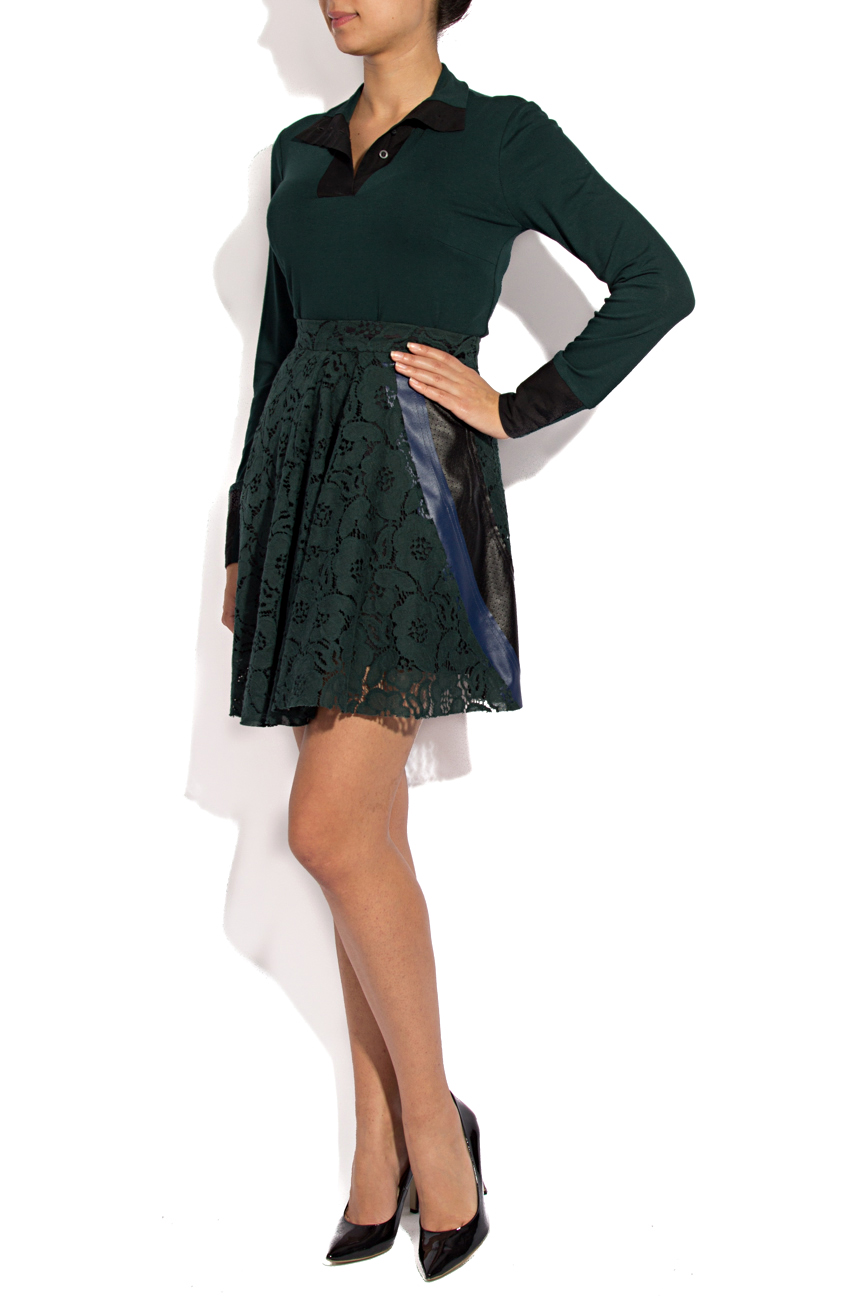 Green lace mini skirt Lena Criveanu image 1