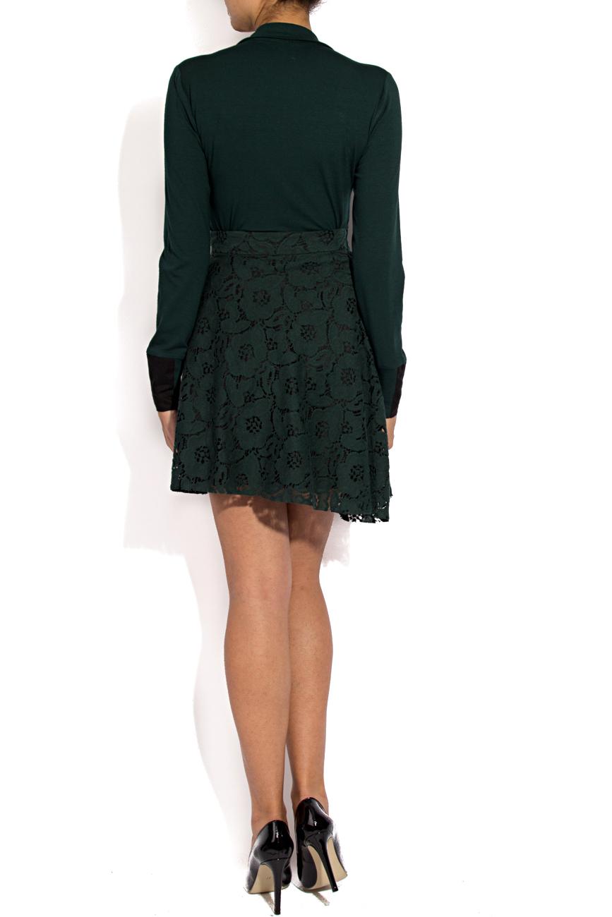 Green lace mini skirt Lena Criveanu image 2