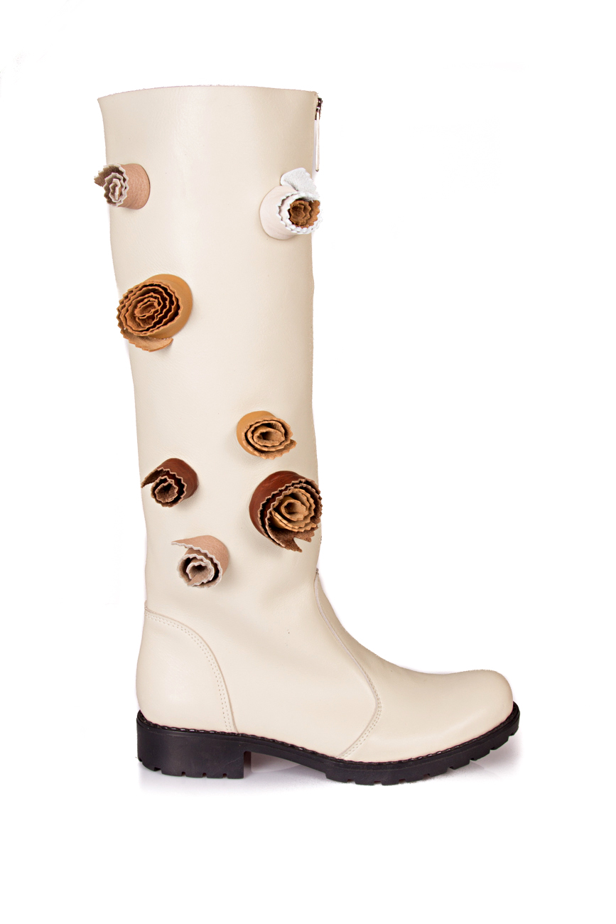 Beige boots with flowers Giuka by Nicolaescu Georgiana  image 1