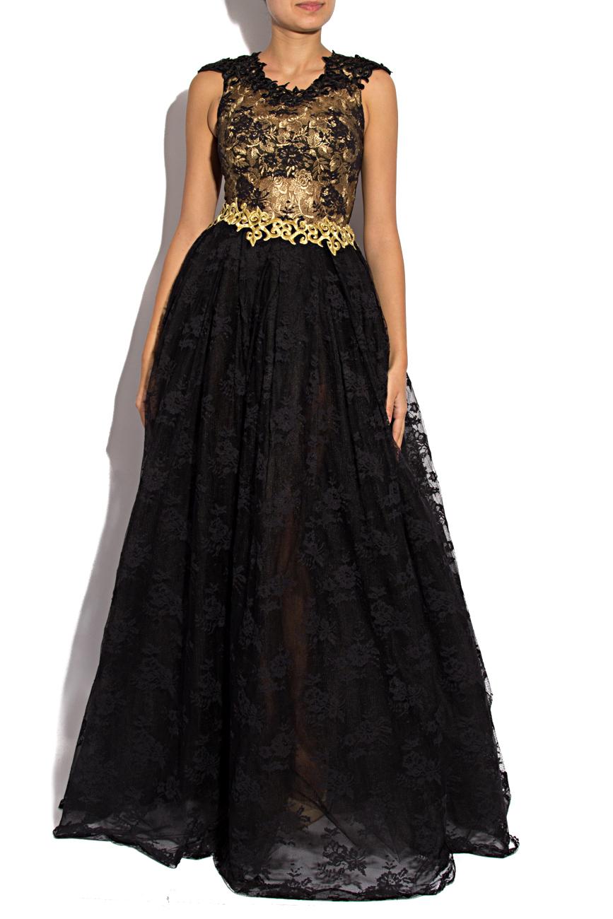 Rochie negru cu auriu Anca si Silvia Negulescu imagine 0