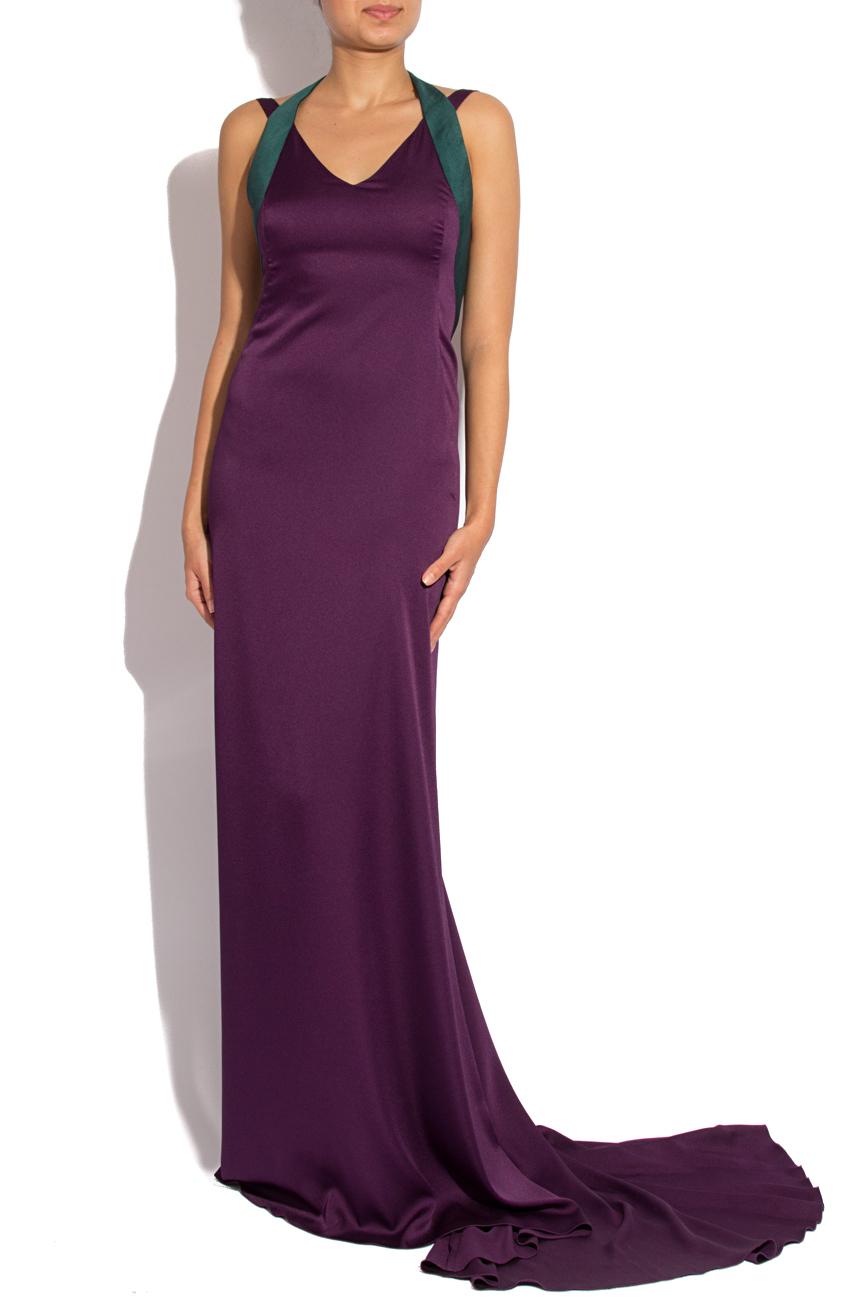 Robe à traîne en satin violet Lena Criveanu image 0