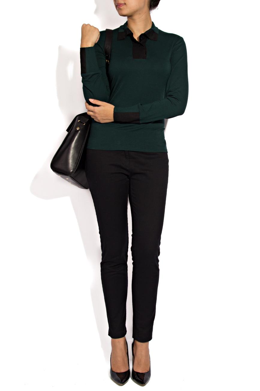 Green jersey blouse Lena Criveanu image 1