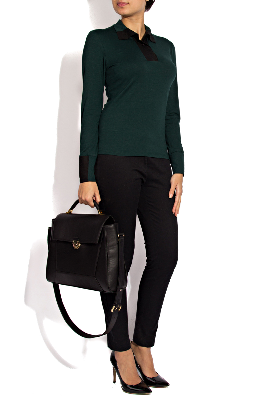 Green jersey blouse Lena Criveanu image 0