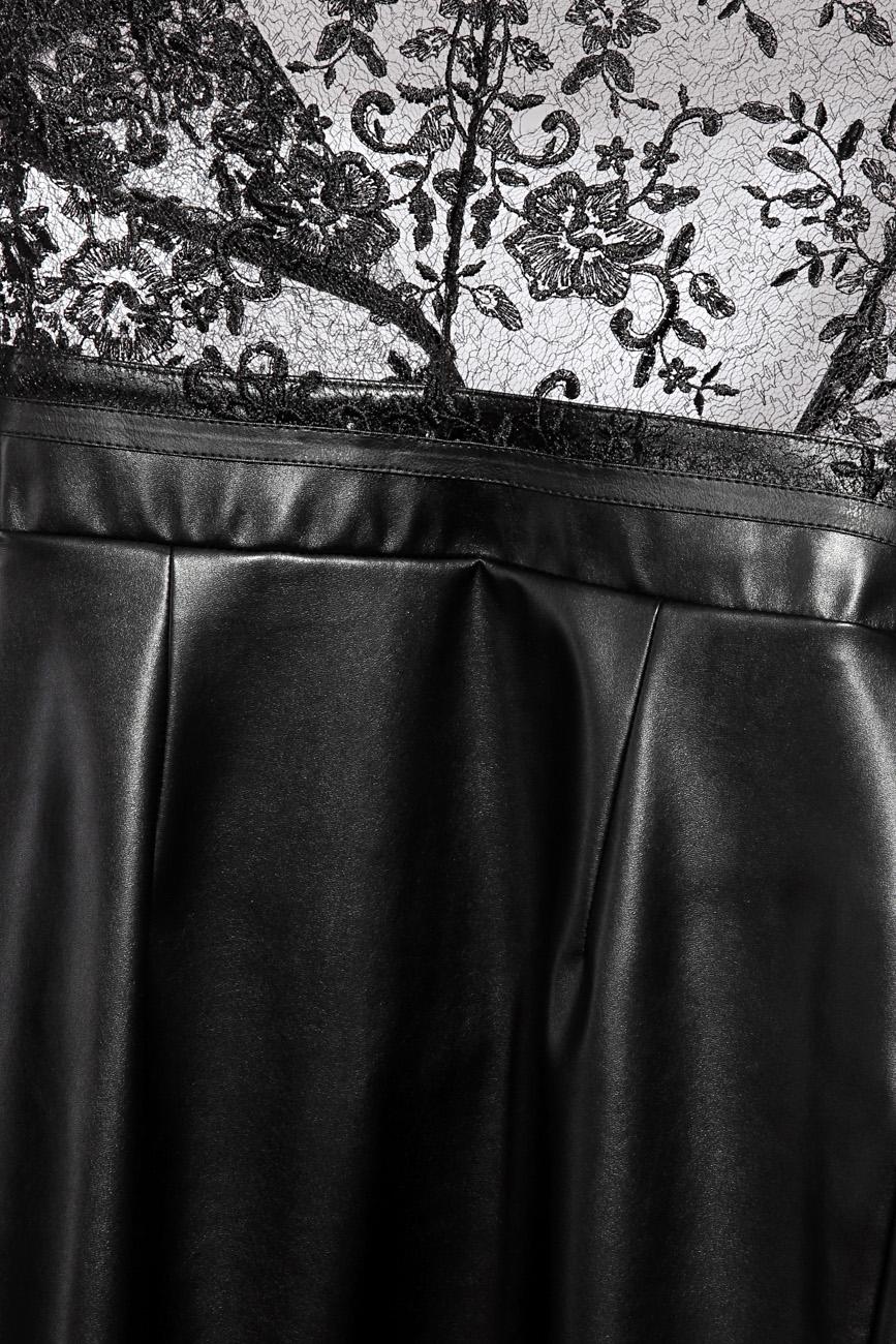 Rochie din imitatie de piele si dantela Mirela Diaconu  imagine 3