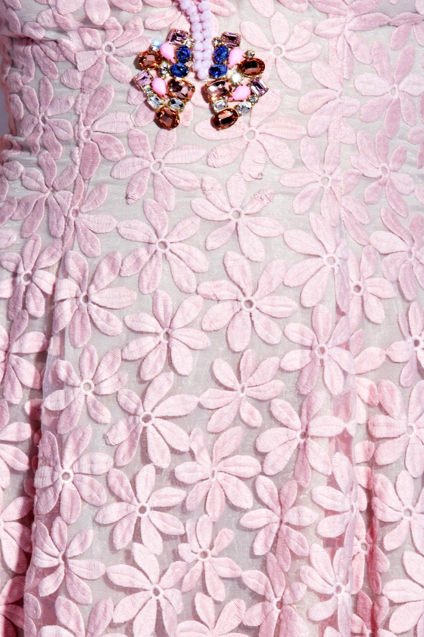 Rochie midi din organza de matase brodata Elena Perseil imagine 3
