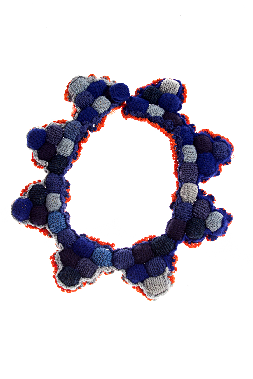 Blue- orange crochet collar necklace Gabriela Urda image 0