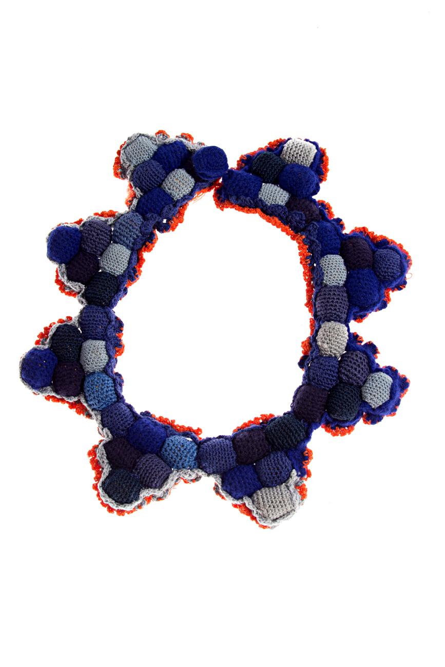 Blue- orange crochet collar necklace Gabriela Urda image 0