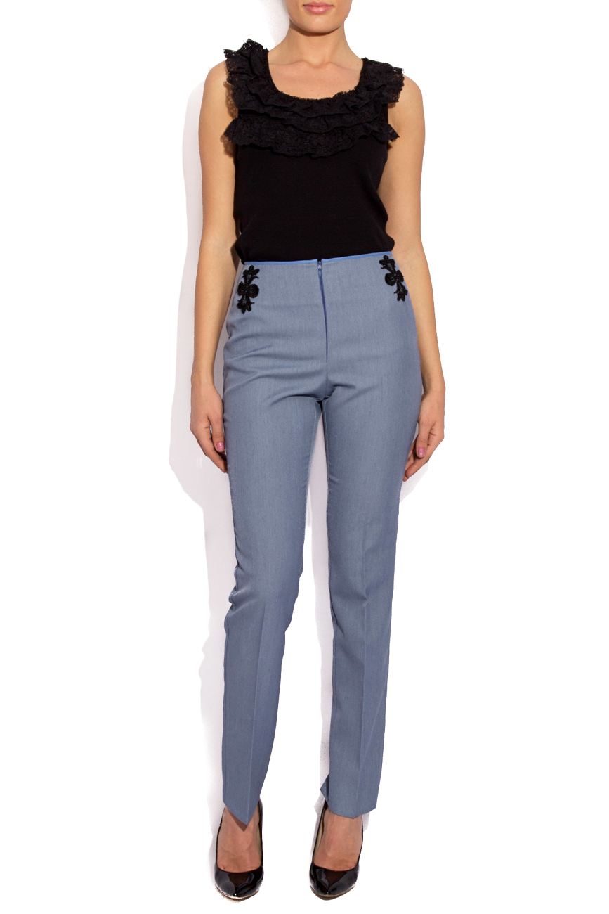 Blue pants with lace details Cristina Staicu image 0