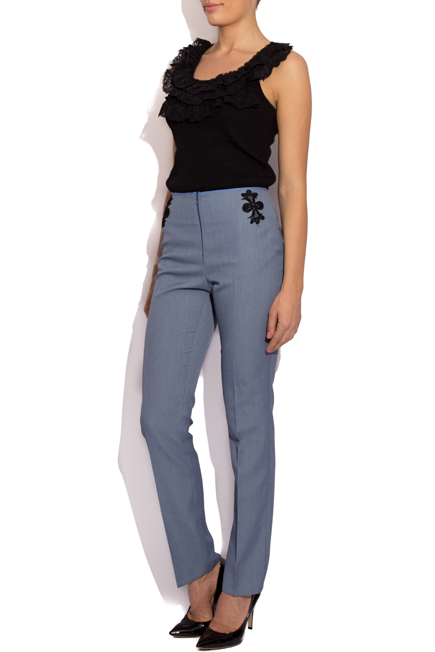 Blue pants with lace details Cristina Staicu image 1